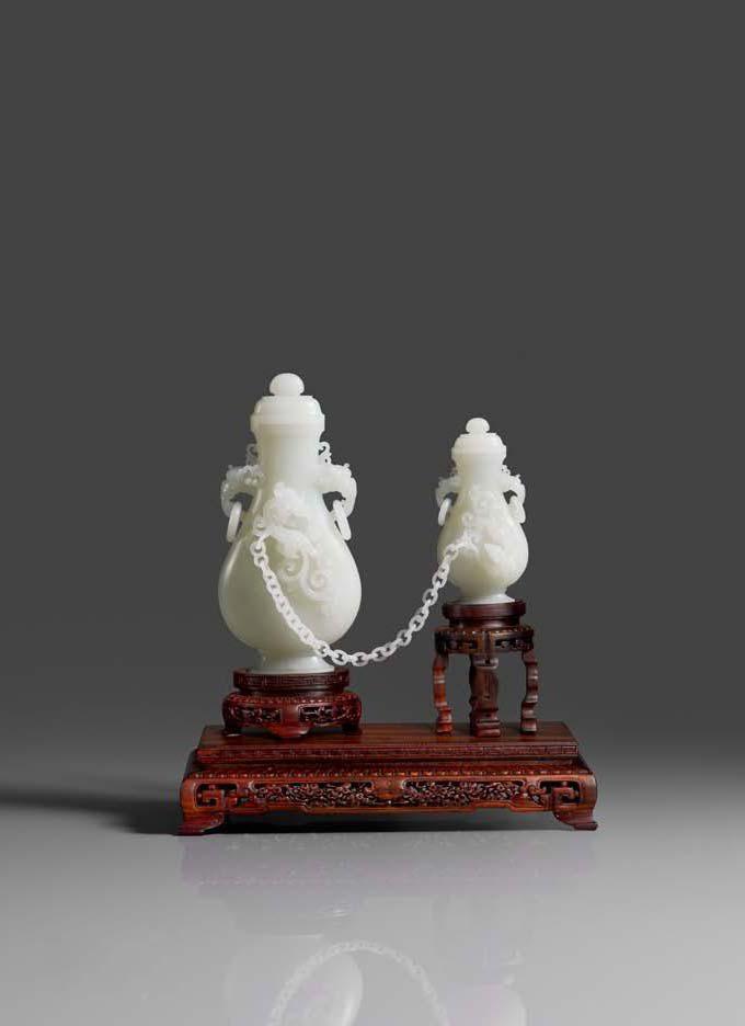 张铁成玉雕作品 子母瓶